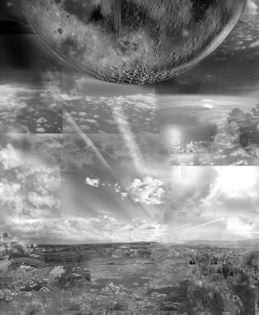 Detail Mond und Kondensstreifen