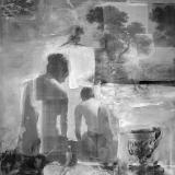 Klio und Melete, 2006, 120 x 160 cm, Collage, Malerei auf Leinwand