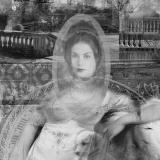 Frau mit Hund, 2013, 100 x 70 cm, Collage auf Papier