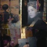 Leben auf dem Kontinent, 2011, 200 x 150 cm, Tusche, Öl, Blattmetall auf Nessel