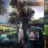 Grünes Reich, 2012, 145 x 165 cm, Collage, Malerei auf Nessel