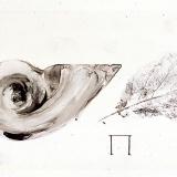Muschel und Blatt, 2000, 20 x 91 cm, Tusche auf Transparentfolie