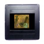 Stier, 1988, 30 x 30 cm, Sand, Kreide, Öl auf Nessel